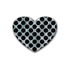 Circles2 Black Marble & Ice Crystals Rubber Coaster (heart)