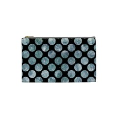 Circles2 Black Marble & Ice Crystals (r) Cosmetic Bag (small)
