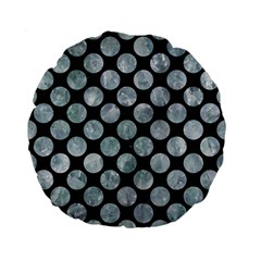 Circles2 Black Marble & Ice Crystals (r) Standard 15  Premium Flano Round Cushions by trendistuff