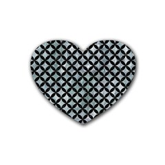 Circles3 Black Marble & Ice Crystals Rubber Coaster (heart)  by trendistuff