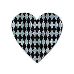 Diamond1 Black Marble & Ice Crystals Heart Magnet by trendistuff