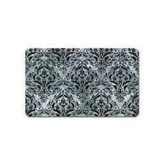Damask1 Black Marble & Ice Crystals Magnet (name Card) by trendistuff