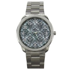 Damask1 Black Marble & Ice Crystals Sport Metal Watch by trendistuff