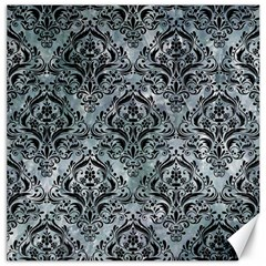 Damask1 Black Marble & Ice Crystals Canvas 12  X 12   by trendistuff