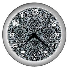 Damask2 Black Marble & Ice Crystals Wall Clocks (silver)  by trendistuff