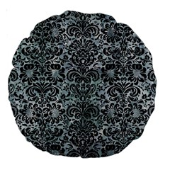 Damask2 Black Marble & Ice Crystals Large 18  Premium Round Cushions by trendistuff