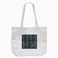 Damask2 Black Marble & Ice Crystals Tote Bag (white) by trendistuff