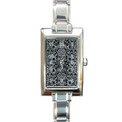 Damask2 Black Marble & Ice Crystals (r) Rectangle Italian Charm Watch