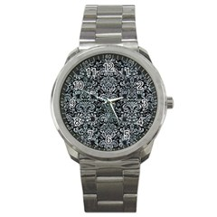 Damask2 Black Marble & Ice Crystals (r) Sport Metal Watch by trendistuff