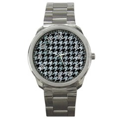 Houndstooth1 Black Marble & Ice Crystals Sport Metal Watch by trendistuff
