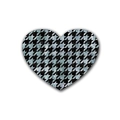 Houndstooth1 Black Marble & Ice Crystals Rubber Coaster (heart)  by trendistuff