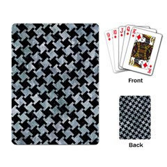Houndstooth2 Black Marble & Ice Crystals Playing Card by trendistuff
