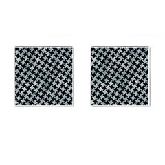 Houndstooth2 Black Marble & Ice Crystals Cufflinks (square) by trendistuff