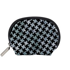 Houndstooth2 Black Marble & Ice Crystals Accessory Pouches (small)  by trendistuff