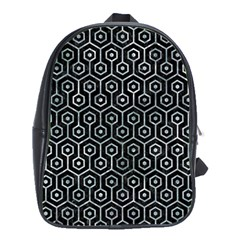 Hexagon1 Black Marble & Ice Crystals (r) School Bag (xl) by trendistuff