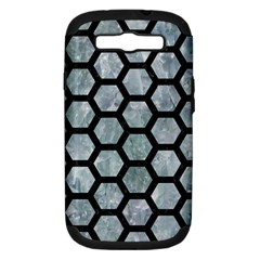 Hexagon2 Black Marble & Ice Crystals Samsung Galaxy S Iii Hardshell Case (pc+silicone) by trendistuff