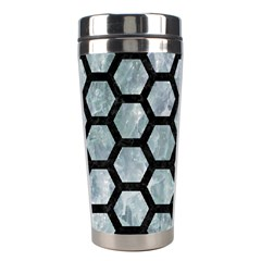 Hexagon2 Black Marble & Ice Crystals Stainless Steel Travel Tumblers by trendistuff
