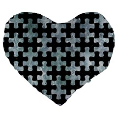 Puzzle1 Black Marble & Ice Crystals Large 19  Premium Flano Heart Shape Cushions by trendistuff