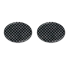 Scales1 Black Marble & Ice Crystals (r) Cufflinks (oval) by trendistuff