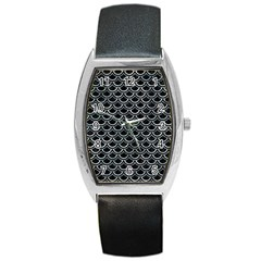 Scales2 Black Marble & Ice Crystals (r) Barrel Style Metal Watch by trendistuff
