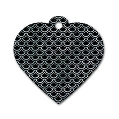 Scales2 Black Marble & Ice Crystals (r) Dog Tag Heart (one Side) by trendistuff