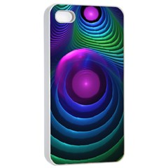 Beautiful Rainbow Marble Fractals In Hyperspace Apple Iphone 4/4s Seamless Case (white) by jayaprime
