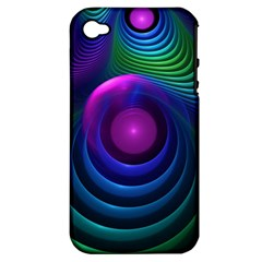 Beautiful Rainbow Marble Fractals In Hyperspace Apple Iphone 4/4s Hardshell Case (pc+silicone) by jayaprime