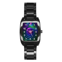 Beautiful Rainbow Marble Fractals In Hyperspace Stainless Steel Barrel Watch by jayaprime