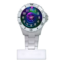 Beautiful Rainbow Marble Fractals In Hyperspace Plastic Nurses Watch by jayaprime