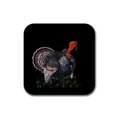 Thanksgiving Turkey Rubber Square Coaster (4 Pack)  by Valentinaart