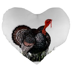 Thanksgiving Turkey Large 19  Premium Heart Shape Cushions by Valentinaart
