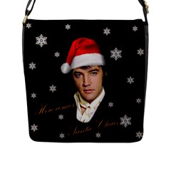 Elvis Presley   Christmas Flap Messenger Bag (l)  by Valentinaart
