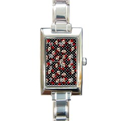 Skulls And Roses Rectangle Italian Charm Watch