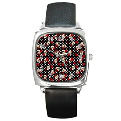 Skulls And Roses Square Metal Watch by Valentinaart