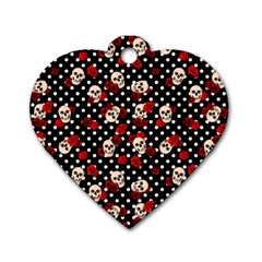 Skulls And Roses Dog Tag Heart (two Sides) by Valentinaart