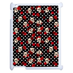 Skulls And Roses Apple Ipad 2 Case (white) by Valentinaart