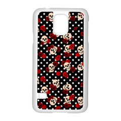Skulls And Roses Samsung Galaxy S5 Case (white) by Valentinaart