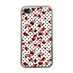 Skulls And Roses Apple Iphone 4 Case (clear) by Valentinaart