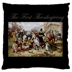 The First Thanksgiving Large Flano Cushion Case (two Sides)