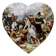 The First Thanksgiving Jigsaw Puzzle (heart) by Valentinaart
