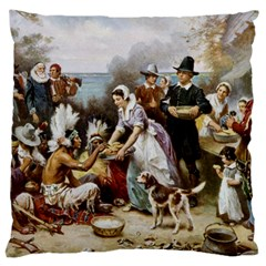 The First Thanksgiving Large Flano Cushion Case (two Sides) by Valentinaart