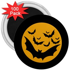 Bats Moon Night Halloween Black 3  Magnets (100 Pack) by Alisyart