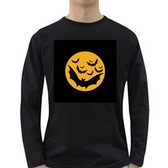 Bats Moon Night Halloween Black Long Sleeve Dark T Shirts