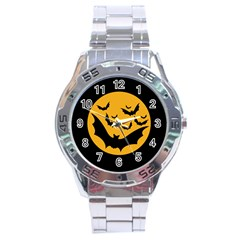 Bats Moon Night Halloween Black Stainless Steel Analogue Watch by Alisyart