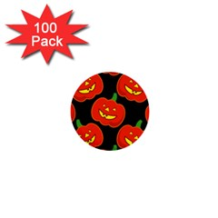 Halloween Party Pumpkins Face Smile Ghost Orange Black 1  Mini Buttons (100 Pack)  by Alisyart