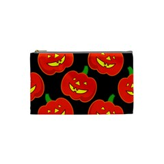 Halloween Party Pumpkins Face Smile Ghost Orange Black Cosmetic Bag (small)  by Alisyart
