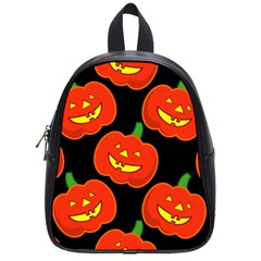 Halloween Party Pumpkins Face Smile Ghost Orange Black School Bag (small) by Alisyart