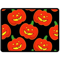 Halloween Party Pumpkins Face Smile Ghost Orange Black Double Sided Fleece Blanket (large)  by Alisyart
