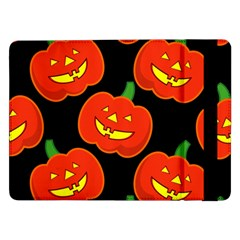 Halloween Party Pumpkins Face Smile Ghost Orange Black Samsung Galaxy Tab Pro 12 2  Flip Case by Alisyart