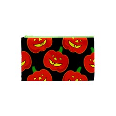 Halloween Party Pumpkins Face Smile Ghost Orange Black Cosmetic Bag (xs) by Alisyart
